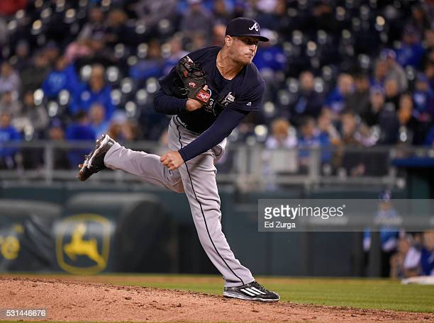Ian Krol of the Atlanta Braves throws in the ninth inning against the Kansas City Royals at Kauffman Stadium on May 14 2016 in Kansas City Missouri
