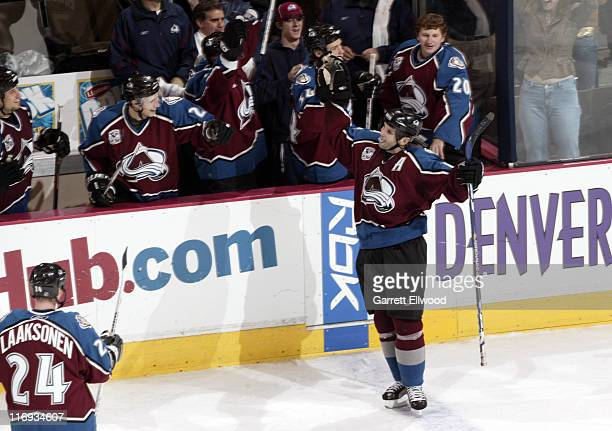 Ian Laperriere of the Colorado Avalanche celebrates his third period goal during the game against the Phoenix Coyotes on December 26 2005 at Pepsi...