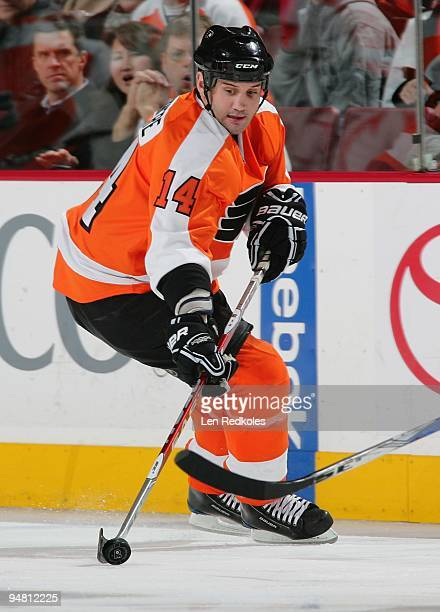 Ian Laperriere of the Philadelphia Flyers skates with the puck against the Pittsburgh Penguins on December 17 2009 at the Wachovia Center in...