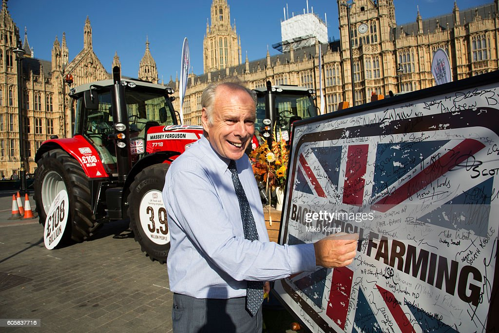 Ian Liddell-Grainger MP at the National Farmers Union (NFU) took machinery, produce, farmers and staff to Westminster to encourage Members of Parliament to back British farming, post Brexit on 14th September 2016 in London, United Kingdom. MPs were encouraged to sign the NFUs pledge and wear a British wheat and wool pin badge to show their support.