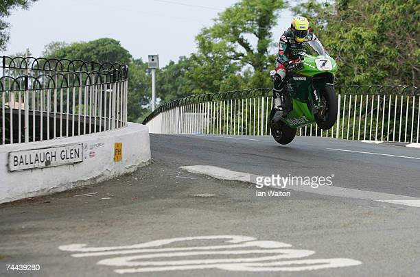 Ian Lougher in action during the senior race in the Isle of Man TT Races on June 8 2007 in Isle of Man