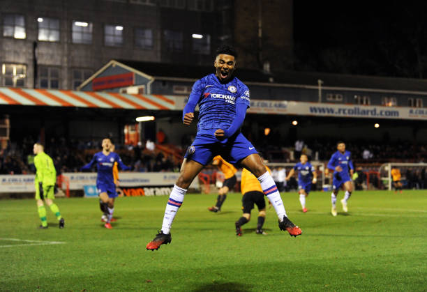 Ian Maatsen of Chelsea celebrates scoring his team's first goal during the FA Youth Cup Fifth Round match between Chelsea U18 and Wolverhampton...