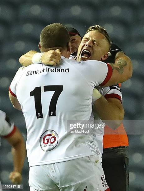 Ian Madigan celebrates after he scores the winning penalty with the last kick of the ball during the Guinness PRO14 PlayOff Semi Final between...