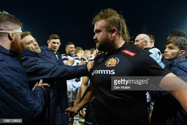 Ian Madigan of Bristol grabs the shirt of Tomas Francis of Exeter Chiefs as the players leave the field following the Gallagher Premiership Rugby...