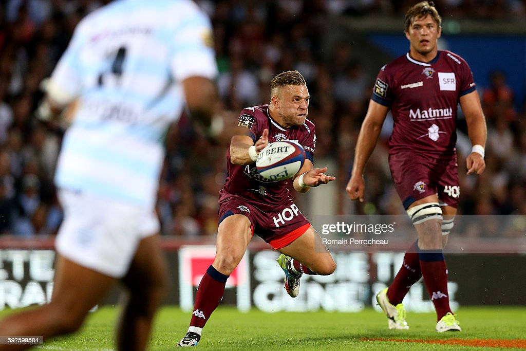 Ian Madigan of Union Bordeaux Begles in action during the French Top 14 union match between Union Bordeaux Begles and Racing 92 at Stade Chaban-Delmas on August 20, 2016 in Bordeaux, France.