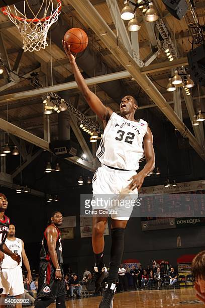 Ian Mahinmi of the Austin Toros shoots a layup during the game against the Utah Flash at the Austin Convention Center on November 28 2008 in Austin...
