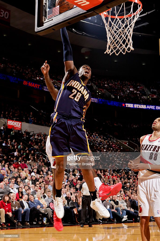 Ian Mahinmi #28 of the Indiana Pacers dunks against the Portland Trail Blazers on January 23, 2013 at the Rose Garden Arena in Portland, Oregon.