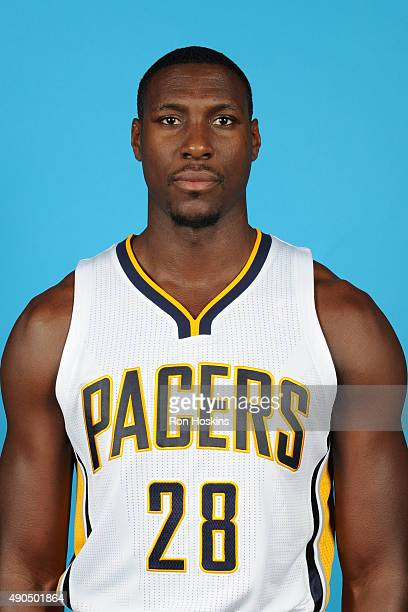 Ian Mahinmi of the Indiana Pacers poses for a head shot during the Indiana Pacers media day at Bankers Life Fieldhouse on September 28 2015 in...