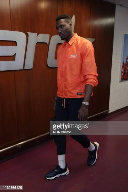 Ian Mahinmi of the Washington Wizards arrives to the arena prior to the game against the Miami Heat on March 23 2019 at Capital One Arena in...