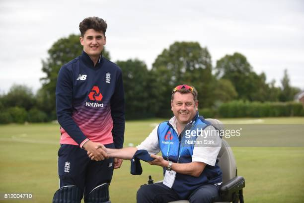 Ian Martin Tournament Director shakes Jack Perry of England hand during the INAS Learning Disability TriSeries Trophy match against England and South...