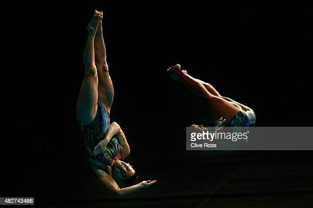 Ian Matos and Juliana Veloso of Brazil compete in the 3m Springboard Synchronised Mixed Diving Final on day nine of the 16th FINA World Championships...