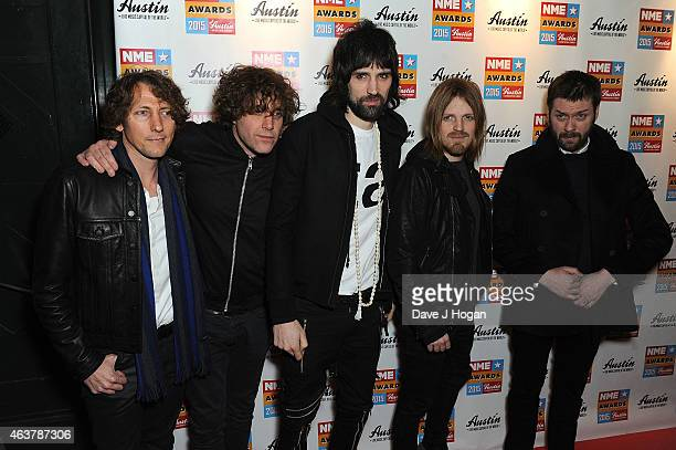 Ian Matthews Sergio Pizzorno Chris Edwards and Tom Meighan of Kasabian attend the NME Awards at Brixton Academy on February 18 2015 in London England