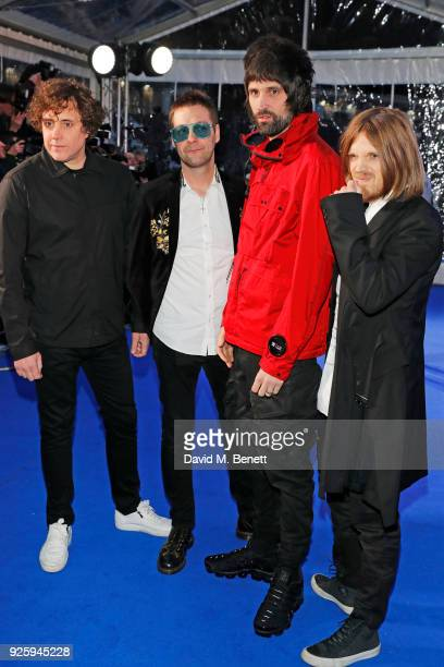 Ian Matthews Tom Meighan Serge Pizzorno and Chris Edwards of Kasabian attend The Global Awards 2018 at Eventim Apollo Hammersmith on March 1 2018 in...