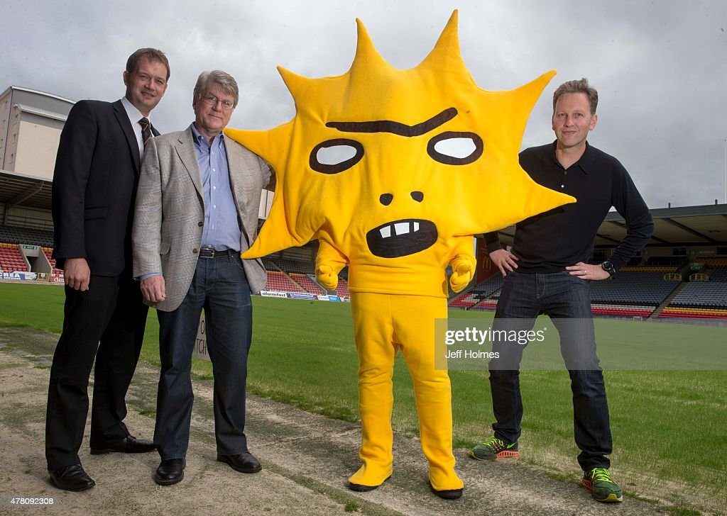 Ian Maxwell, Mike Wilkins and artist David Shrigley attend a photocall as Partick Thistle announce a two-year sponsorship deal with Kingsford Capital Management at Firhill stadium on June 22, 2015 in Firhill, Glasgow, Scotland. British artist David Shrigley was commissioned to design Partick Thistle's new mascot.