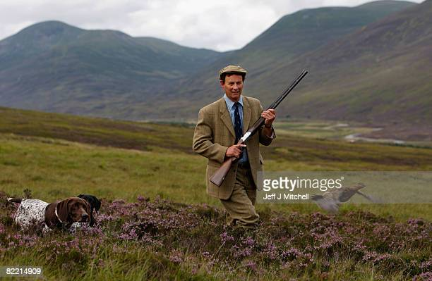 Ian McColl director of the Game and Conservation Trust watches a grouse on the Railia and Milton Estate near Dalwhinnie August 8 2008 in Scotland As...