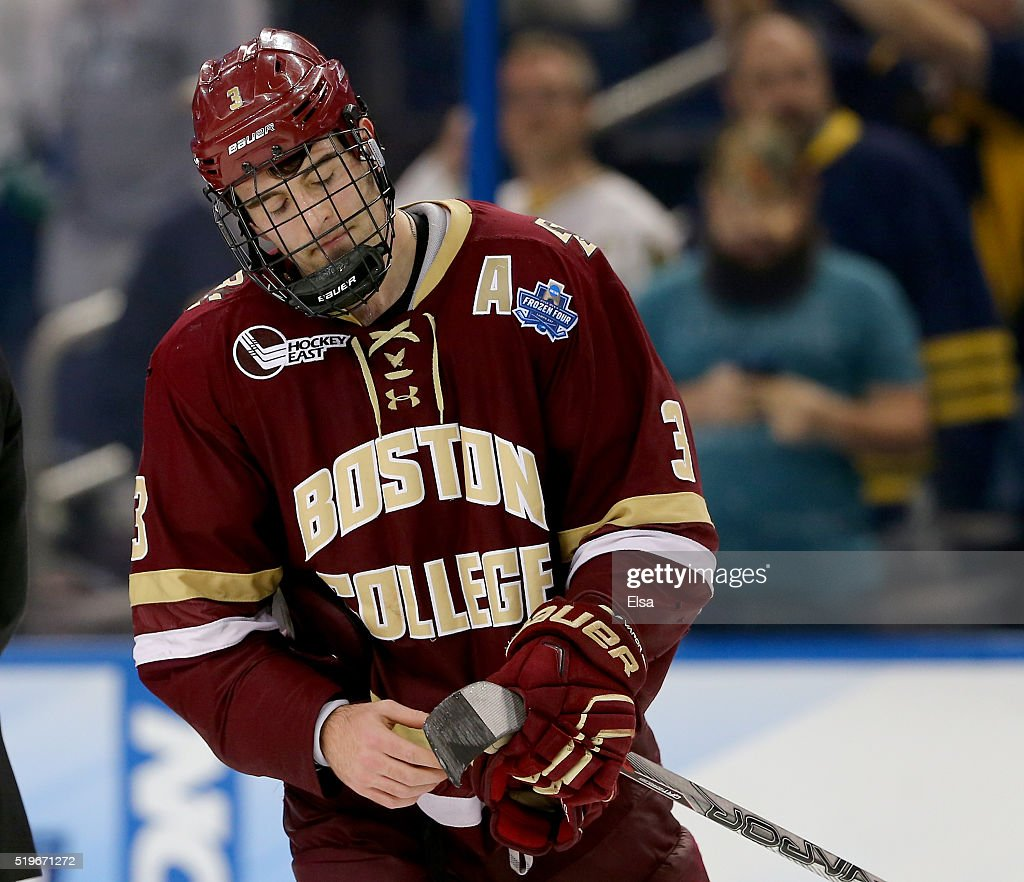Ian McCoshen #3 of the Boston College Eagles reacts to the loss to Quinnipiac Bobcats during semifinals of the 2016 NCAA Division I Men's Hockey Championships at Amalie Arena on April 7, 2016 in Tampa, Florida.
