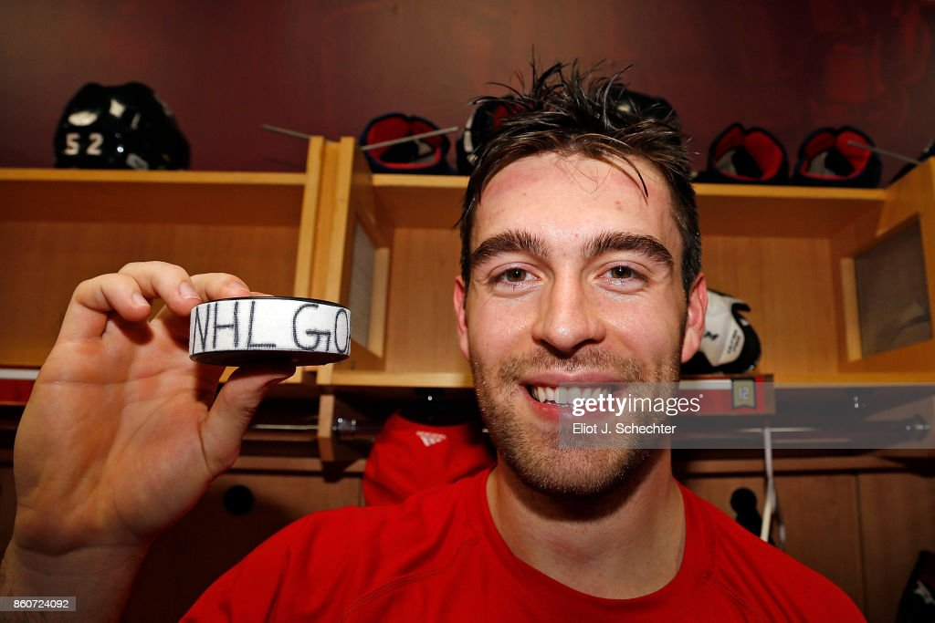 Ian McCoshen #12 of the Florida Panthers celebrates his first NHL goal against the St. Louis Blues at the BB&T Center on October 12, 2017 in Sunrise, Florida.