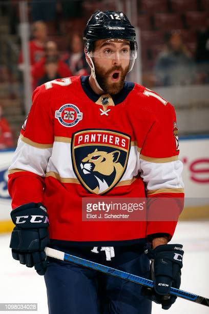 Ian McCoshen of the Florida Panthers glides on the ice during warm ups against the San Jose Sharks at the BBT Center on January 21 2019 in Sunrise...