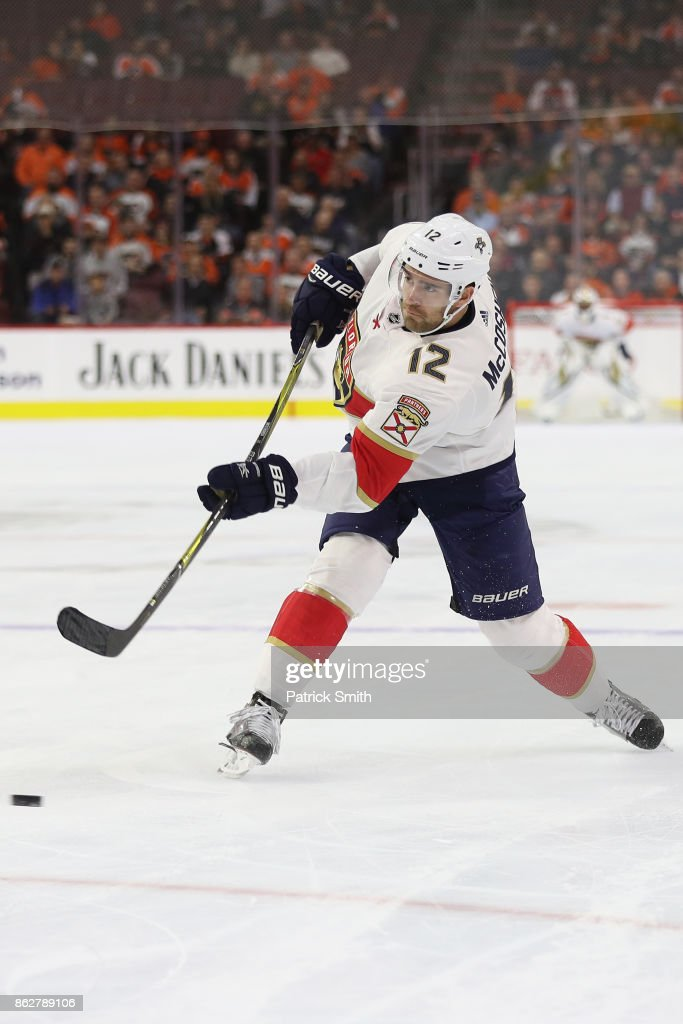 Ian McCoshen #12 of the Florida Panthers in action against the Philadelphia Flyers during the first period at Wells Fargo Center on October 17, 2017 in Philadelphia, Pennsylvania.