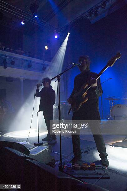 Ian McCulloch and Will Sergeant of Echo And The Bunnymen perform on stage at Queens Hall on June 11 2014 in Edinburgh United Kingdom