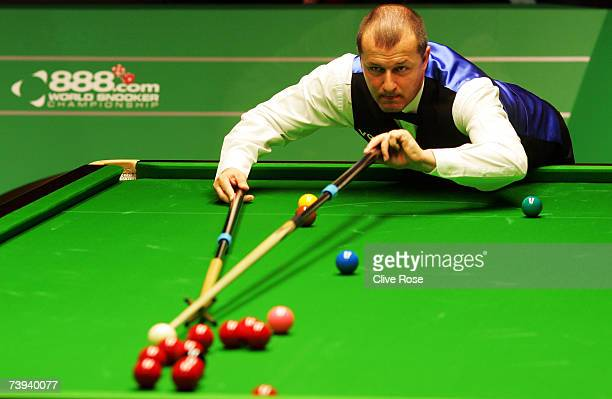 Ian McCulloch in action during his first round match against Graeme Dott in the 888com World Championship at the Crucible Theatre on April 21 2007 in...