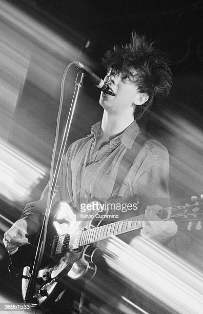 Ian McCulloch lead singer and guitarist with British band Echo and the Bunnymen performs on stage in December 1981