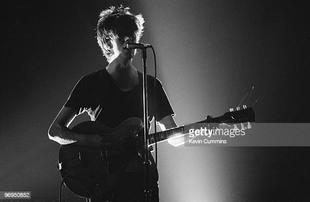 Ian McCulloch lead singer of British band Echo and the Bunnymen performs on stage at the Apollo Theatre in Manchester England in May 1981