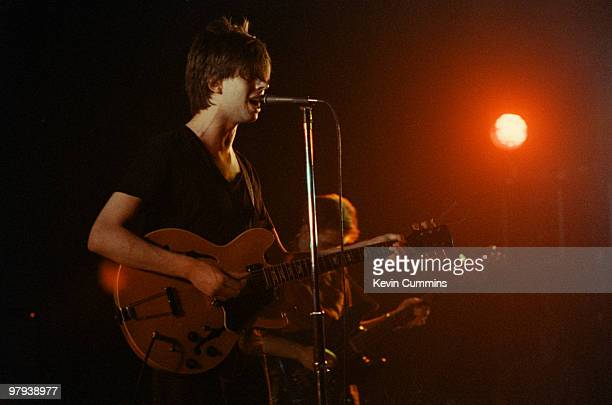 Ian McCulloch of British band Echo and the Bunnymen performs on stage at the Apollo Theatre in Manchester England in May 1981