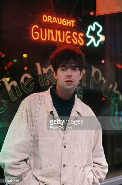 Ian McCulloch of British postpunk band Echo And The Bunnymen stands outside an Irish pub circa 1985