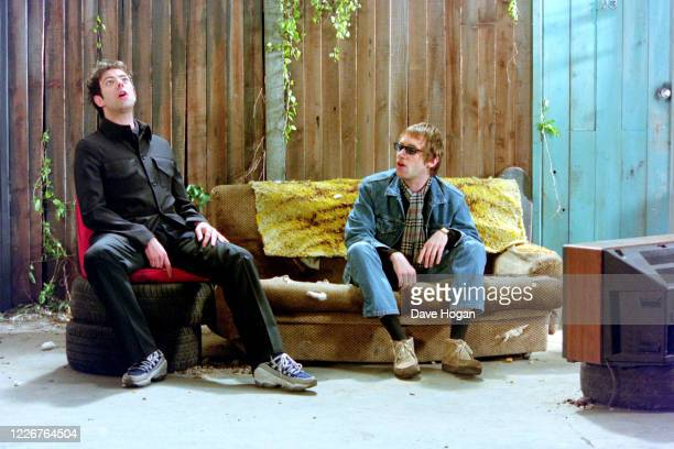 Ian McCulloch of Echo and the Bunnymen and Simon Fowler of Ocean Colour Scene record the video for the single On Top of the World England's official...