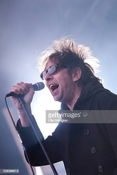 Ian McCulloch of Echo The Bunnymen performs on the main stage at Devonshire Green during the third day of Tramlines Festival on July 25 2010 in...