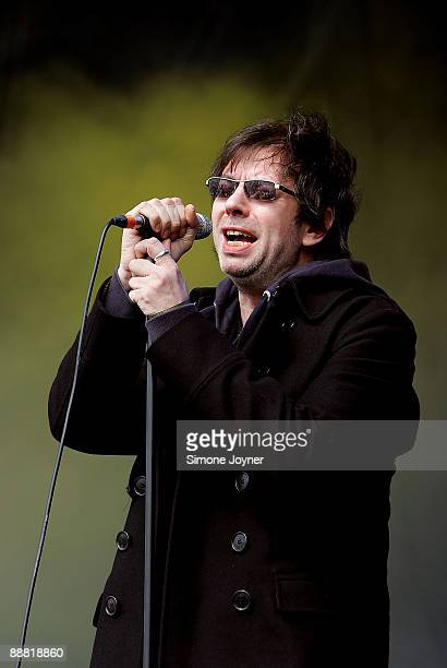 Ian McCulloch of Liverpudlian post punk band Echo The Bunnymen performs live on the main stage during day one of The Hop Farm Festival 2009 at Hop...