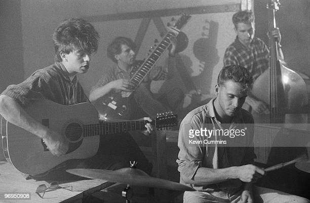 Ian McCulloch Will Sergeant Phil De Freitas and Les Pattinson of British band Echo and the Bunnymen perform on stage at Brian's Cafe in Liverpool...