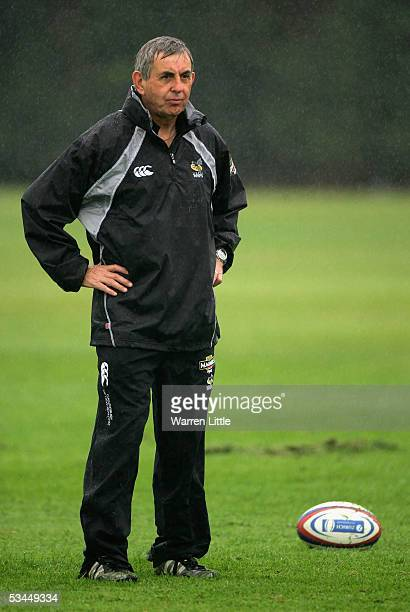 Ian McGeechan the Director of Rugby at London Wasps over looks open training at the Wasps Rugby Club on August 22 2005 in Twyford London England