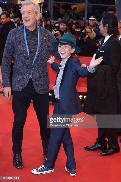 Ian McKellen and Milo Parker attend the 'Mr Holmes' premiere during the 65th Berlinale International Film Festival at Berlinale Palace on February 8...