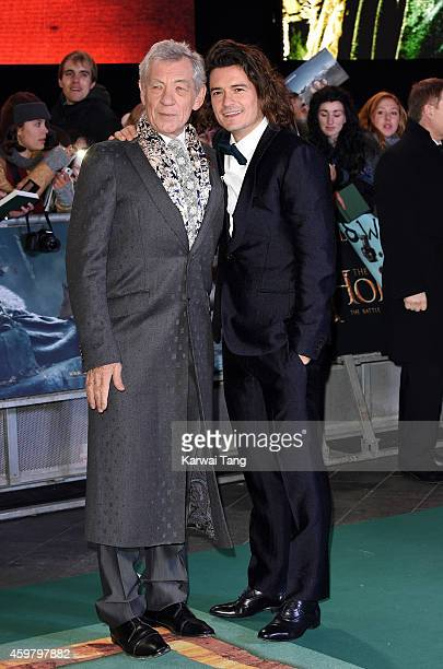 Ian McKellen and Orlando Bloom attend the World Premiere of 'The Hobbit The Battle OF The Five Armies' at Odeon Leicester Square on December 1 2014...