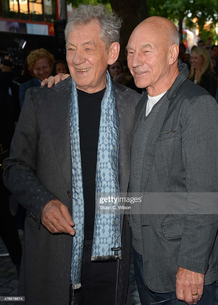Ian McKellen and Patrick Stewart attend the UK Premiere of 'Mr Holmes' at ODEON Kensington on June 10, 2015 in London, England.