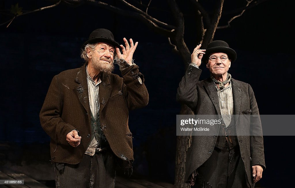 Ian McKellen and Patrick Stewart during the Opening Night Curtain Call for 'Waiting For Godot' at the Cort Theatre on November 24, 2013 in New York City.