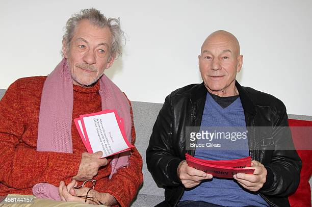 Ian McKellen and Patrick Stewart promote their plays 'Waiting for Godot' and 'No Man's Land' at The Broadwaycom Times Square Studios on December 19...