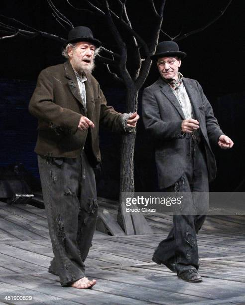 Ian McKellen and Patrick Stewart take their Opening Night Curtain Call for 'Waiting For Godot' at the Cort Theatre on November 24 2013 in New York...