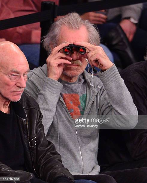 Ian McKellen attends the Dallas Mavericks vs New York Knicks game at Madison Square Garden on February 24 2014 in New York City