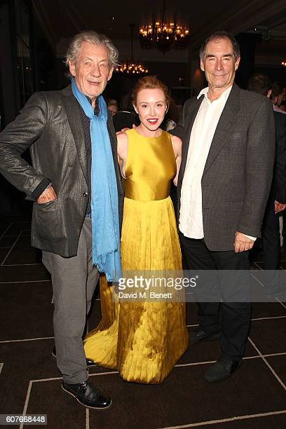 Ian McKellen Daisy Lewis and Timothy Dalton attend an after party celebrating the National Youth Theatre's 60th Anniversary Gala 'The Story Of Our...