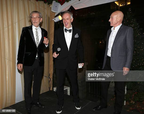 Ian McKellen Director Sean Mathias and Patrick Stewart attend the No Man's Land Waiting For Godot Opening Night after party at the Bryant Park Grill...