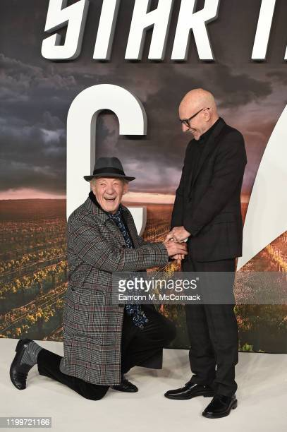 Ian McKellen gets down on one knee for Sir Patrick Stewart on the red carpet during the Star Trek Picard UK Premiere at Odeon Luxe Leicester Square...