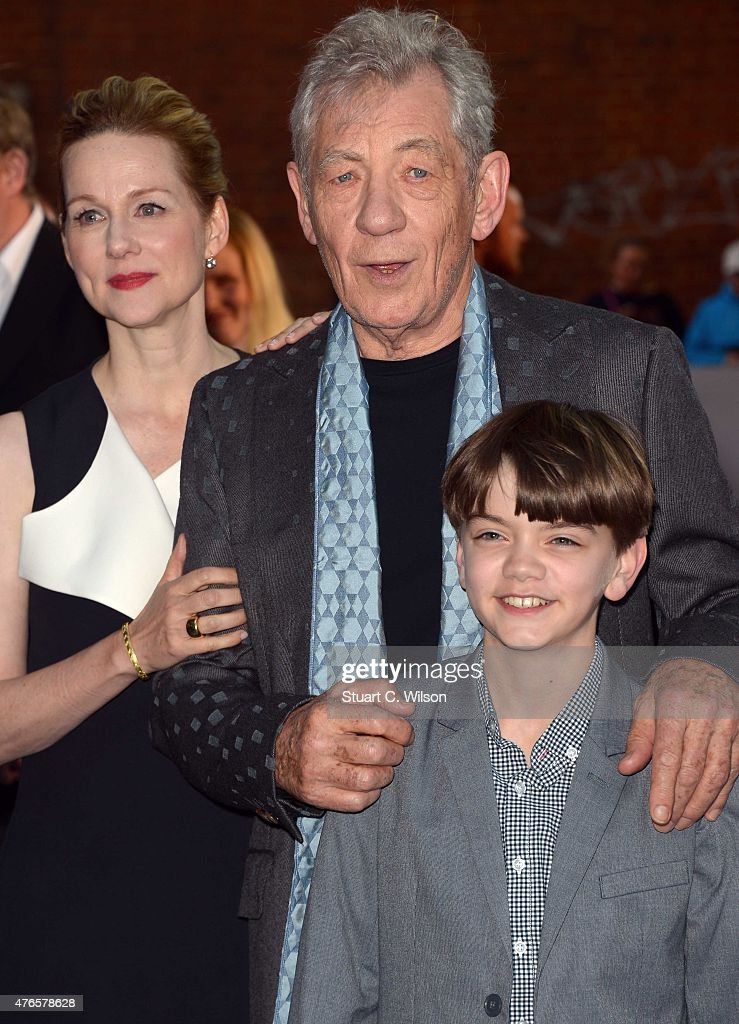 Ian McKellen, Laura Linney and Milo Parker attend the UK Premiere of 'Mr Holmes' at ODEON Kensington on June 10, 2015 in London, England.