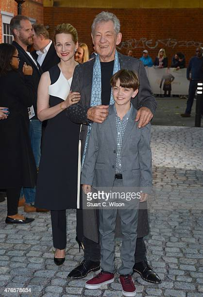 Ian McKellen Laura Linney and Milo Parker attend the UK Premiere of Mr Holmes at ODEON Kensington on June 10 2015 in London England