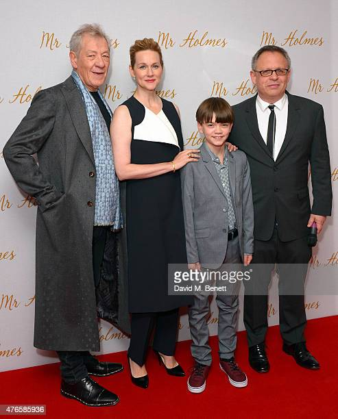 Ian McKellen Laura Linney Milo Parker and Bill Condon attend the UK Premiere of Mr Holmes at ODEON Kensington on June 10 2015 in London England