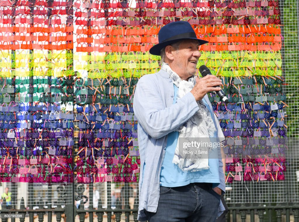 Ian McKellen Unveils A rainbow Coloured Love Locks Display At The Old Royal Naval College