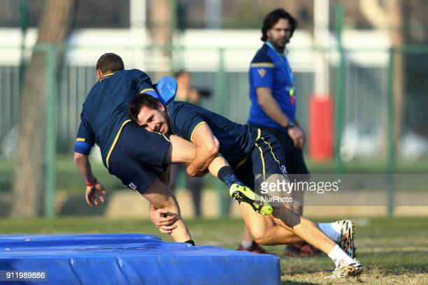 Ian McKinley of Italy during the rugby national team training session in view of the beginning of the Six Nations 2018 at Giulio Onesti Sport Center...
