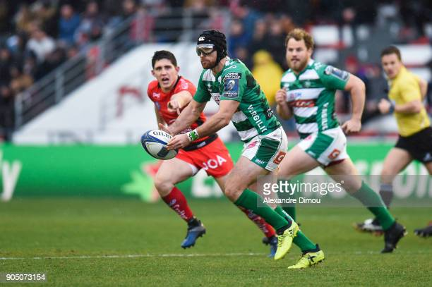 Ian McKinley of Trevise during the Champions Cup match between Toulon and Trevise at Felix Mayol Stadium on January 14 2018 in Toulon France